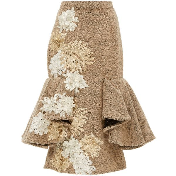 Kika Vargas Flower Applique Fluted Skirt ($635) ❤ liked on Polyvore featuring skirts, brown skirt, flounce hem skirt, applique skirt, high waisted knee length skirt and high rise skirts