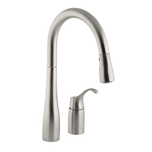 Simplice Two Hole Kitchen Sink Faucet With 16 1 8 Pull Down Swing