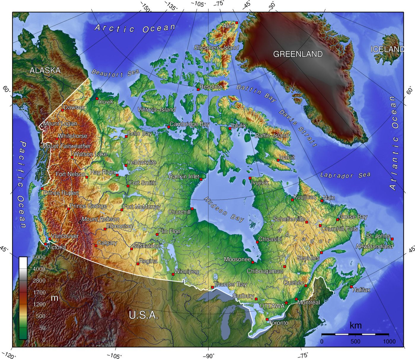 Canada Elevation Map Elevation map of Canada | Geography of canada, Map, Elevation map