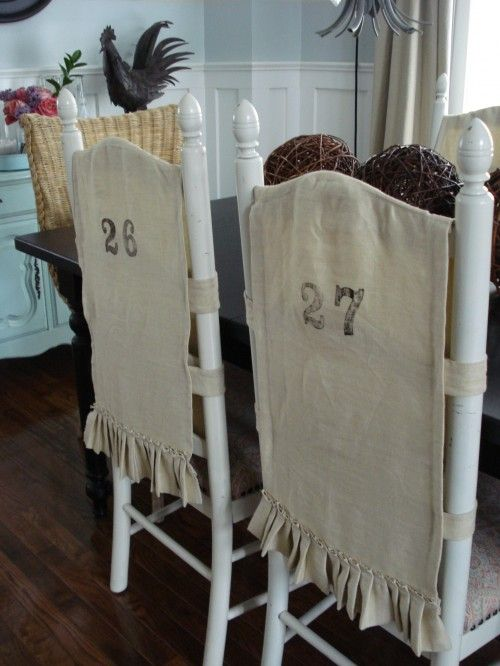 dining room chair back covers | Although these are made of burlap, I can see the potential ...