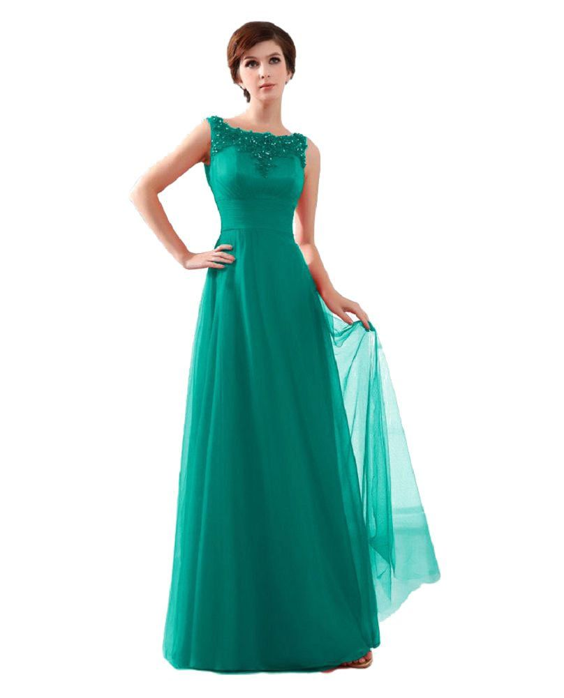 Beauty-Emily Women's lace Sleeveless Long Formal Evening Dresses Color Dark Green,Size US20W