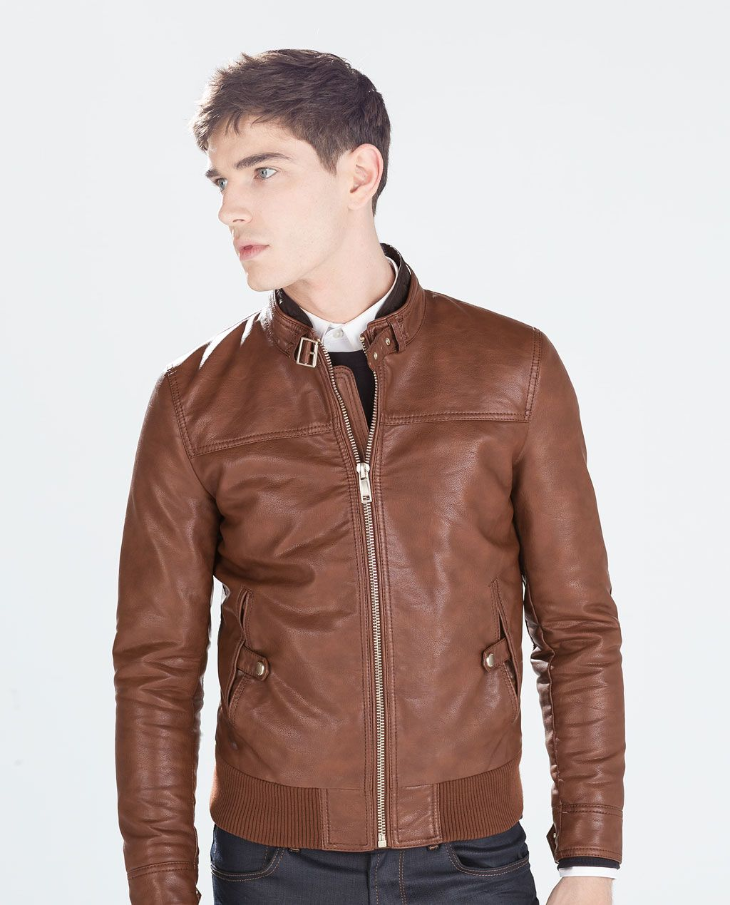 f2045bd5 Image 3 of FAUX LEATHER JACKET WITH CHEST SEAMS from Zara Stylish Mens  Fashion, Zara