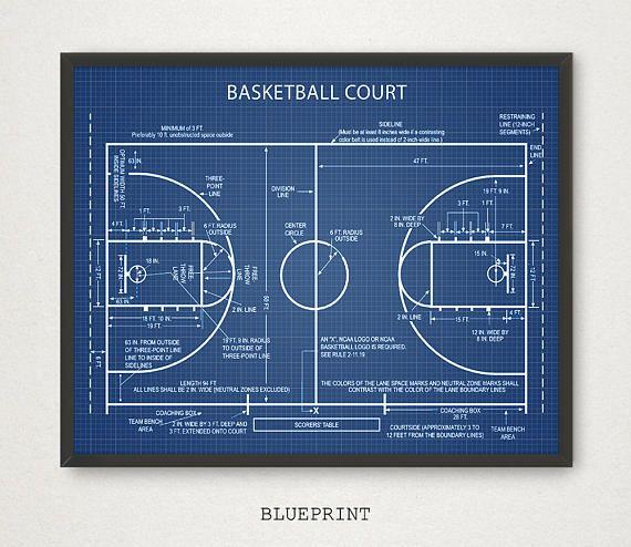 Basketball Court Blueprint Art, Digital Download