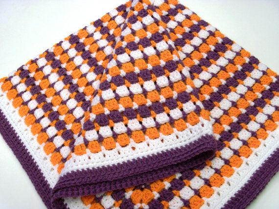 Clemson Modified Granny Square Afghan op Etsy, 35,91 € | CLEMSON ...
