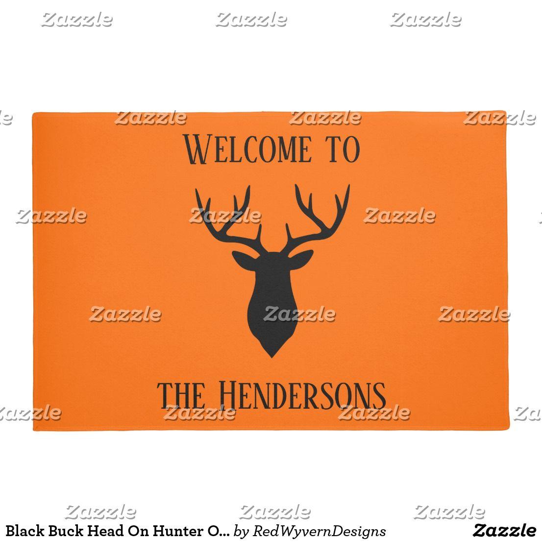 Black buck head on hunter orange door mat red wyvern designs black buck head on hunter orange door mat kristyandbryce Images