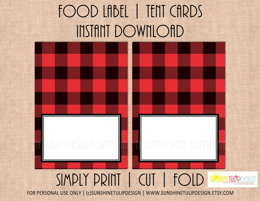 Printable Buffalo Plaid Food Label Tent Cards Christmas Holiday All Occasion By Sunshinetulipdesign Buffalo Plaid Christmas Tent Cards Christmas Party Themes