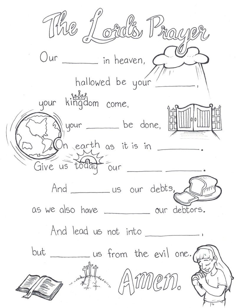 Lord's Prayer Coloring Page in 2020 The lords prayer