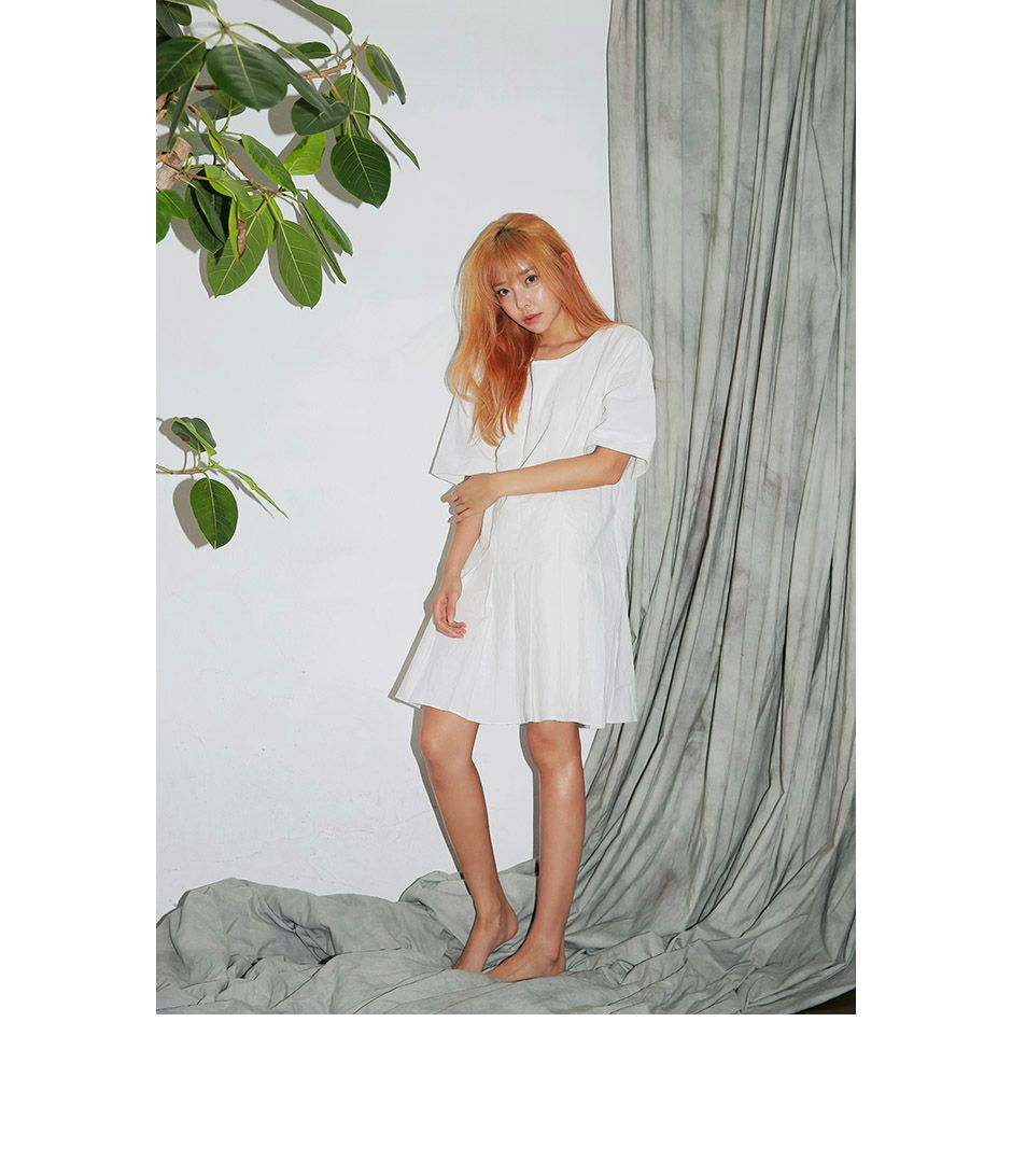 Pleated Pintuck Dress (White)   STYLENANDA