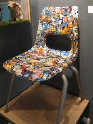 got to try this! Comic book plastic chair makeover