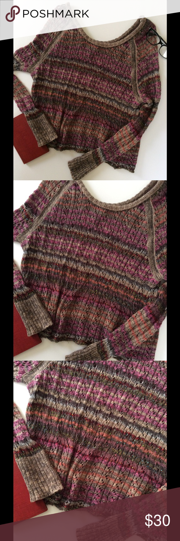 🎉 Free People Sweater Top Free People sweater.  Stunning sweater in multi-colors(browns/pinks/oranges), crochet fabric, wide neckline, long sleeves, fitted.  Runs small. Size extra small.  Preowned. Free People Sweaters Crew & Scoop Necks