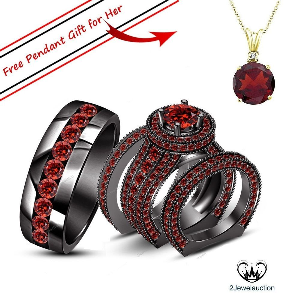 ct k black gold red garnet wedding bridal his and her