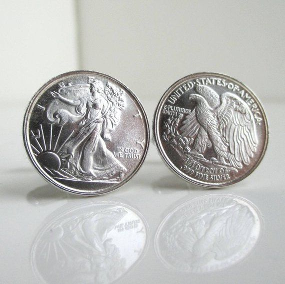 999 Silver Coin Cuff Links Repurposed Walking Liberty 1 10 Oz Sterling Coins Rounds Silver Coins Silver Cufflinks