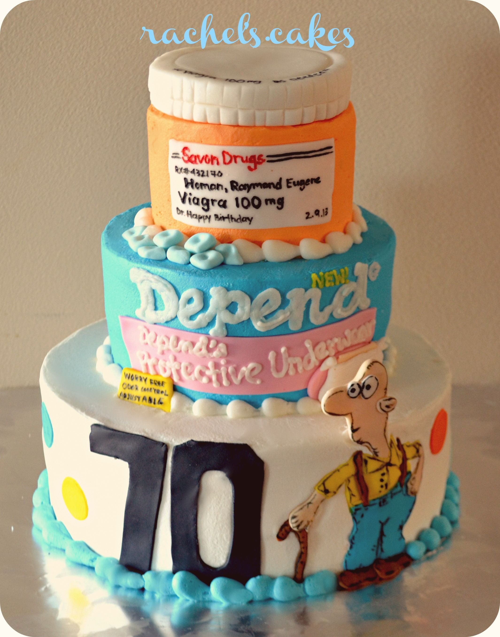 70th Old Man Birthday Cake Depends And Viagra Lol My Own