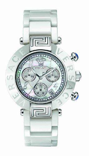 40f91e38c Versace Women's 95CCS1D497 SC01 Reve Mother-Of-Pearl Dial Chronograph White  Ceramic Bracelet Watch