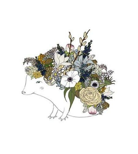 Pindsvind og blomster i smuk forening - en anden sag end den stikkende fætter vi kender :)