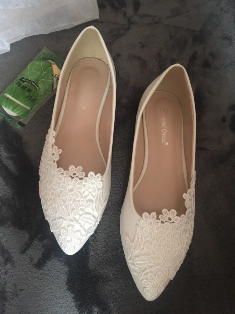 Crystal queen ballet flats white lace wedding shoes flat