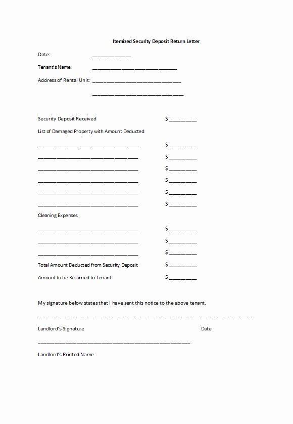 Security Deposit Return form Template Elegant 50 Effective