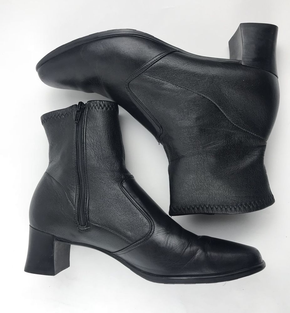 6e64ea49d16 Munro American Womens Black Leather Ankle Boots Sz US 8 | eBay ...
