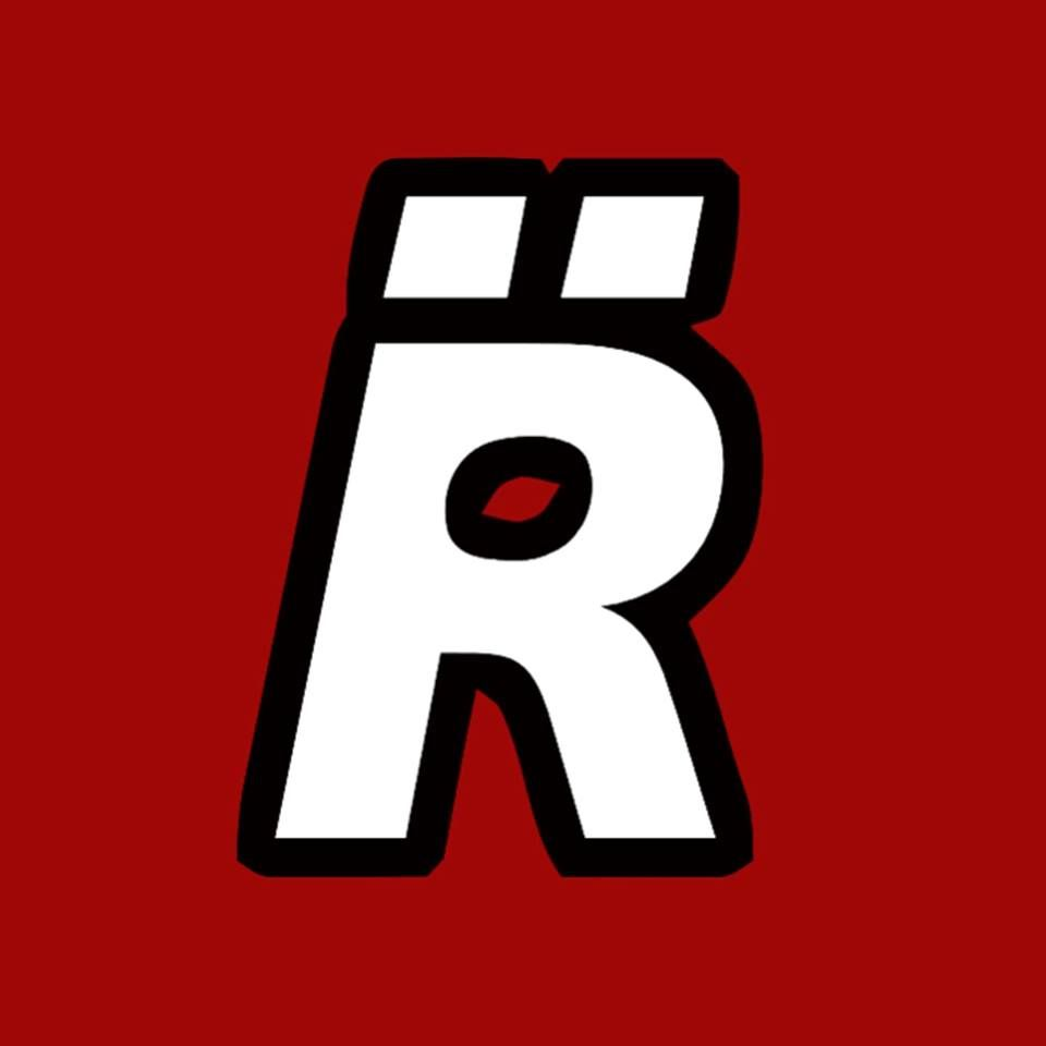Logo R Erre Con Due Quadrati Bianco Con Bordo Nero Su Sfondo