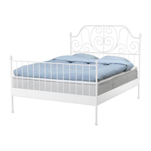 Leirvik bed frame with slatted bed base ikea space under for Bed base ikea