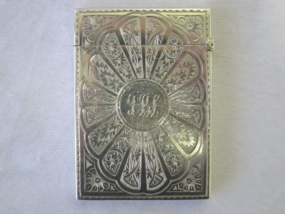 RARE ANTIQUE STERLING SILVER VISITING BUSINESS CARD CASE B H J ...