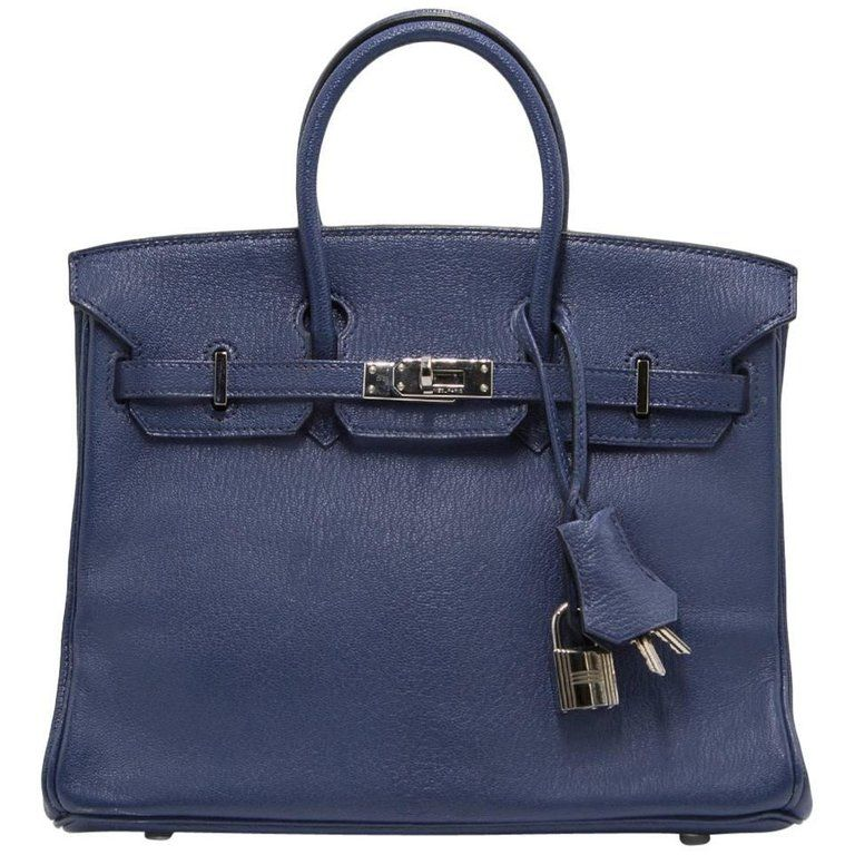 47d70c7d2d4 Hermès - Birkin 25cm Blue De Malte Chevre Leather Silver Hardware Birkin  Bag ( 16