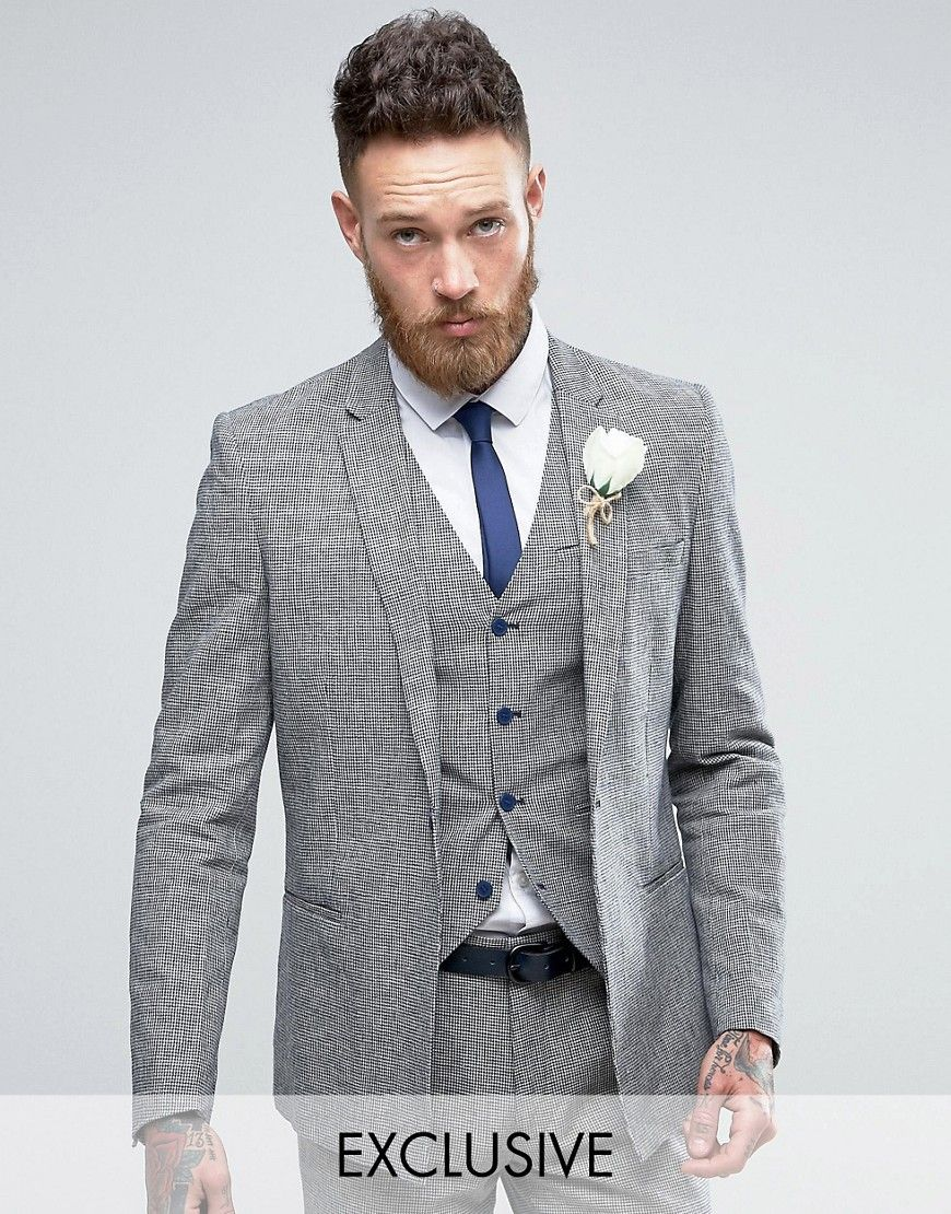 d2812c5dcce Only   Sons Skinny Wedding Square Hem Suit Jacket In Dogstooth in ...