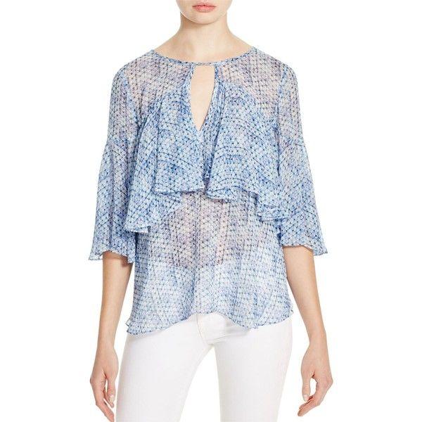 Rebecca Taylor Shibori Diamond Print Silk Blouse (595 ILS) ❤ liked on Polyvore featuring tops, blouses, sugar cream, sheer silk blouse, ruffle top, sheer tops, silk blouse and silk ruffle blouse