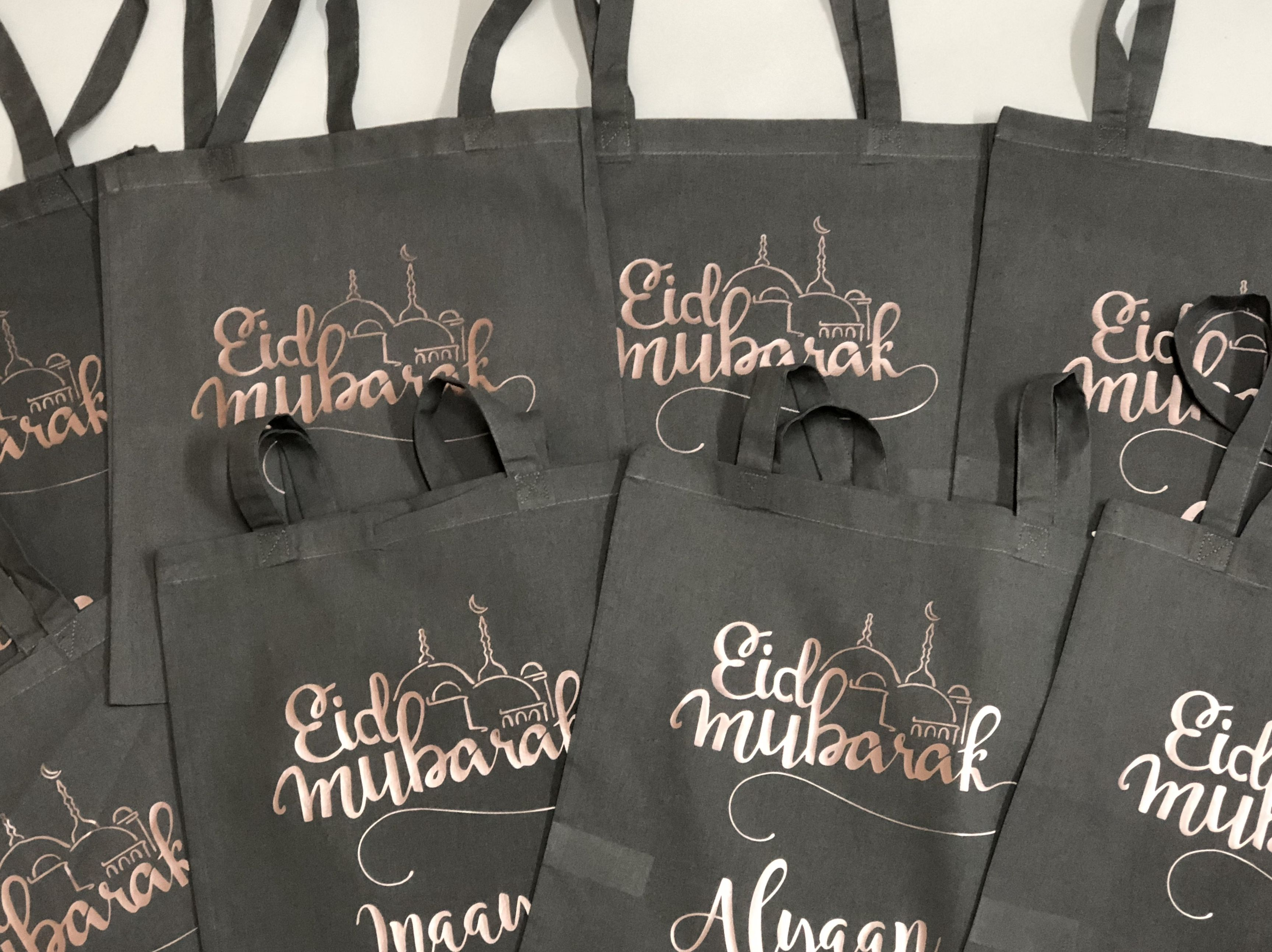 Festive Eid Tote Bags Mubarak Personalised With Names Gift And Packaging
