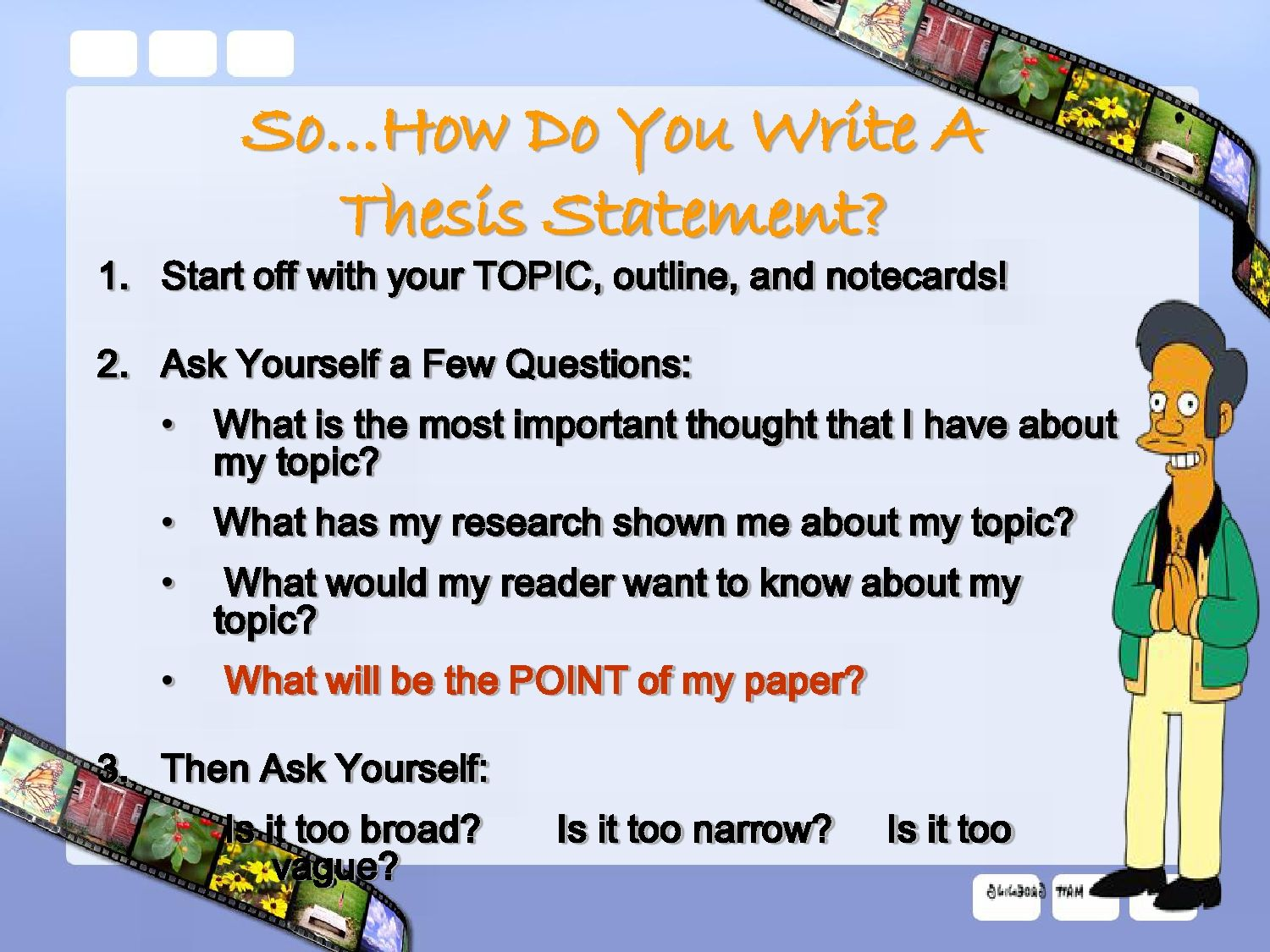 write a thesis statements These thesis statements are generated based on the answers provided on the form use the thesis statement guide as many times as you like your ideas and the results are anonymous and confidential when you build a thesis statement that works for you, ensure that it.