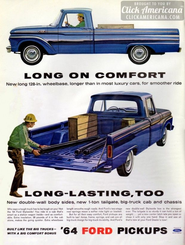 64 ford pickups: long on comfort | ford, ford trucks and cars