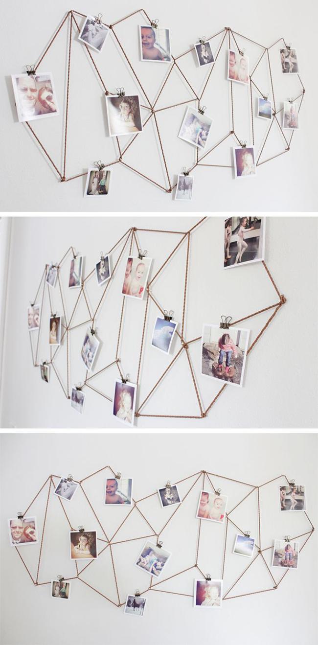 Geniale DIY-Idee mit Kordel oder Draht für eure Foto-Wand! #pintow ...