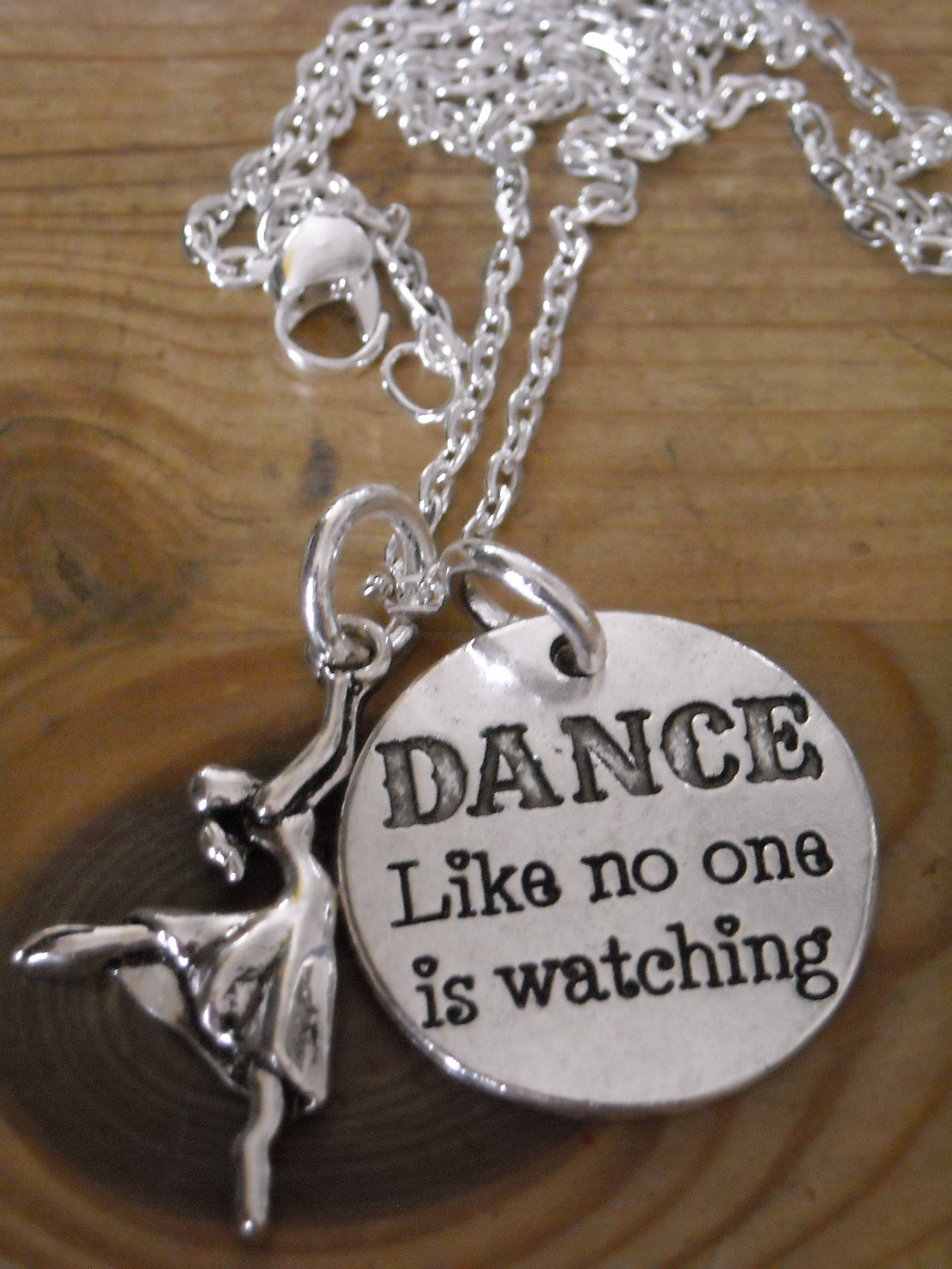 """New ~ Silver ~ DANCE ~ Ballerina~ Ballet ~ Ballerina Dancer Necklace and Word Charm """"DANCE like no one is watching"""" by GlamRusJewels on Etsy"""