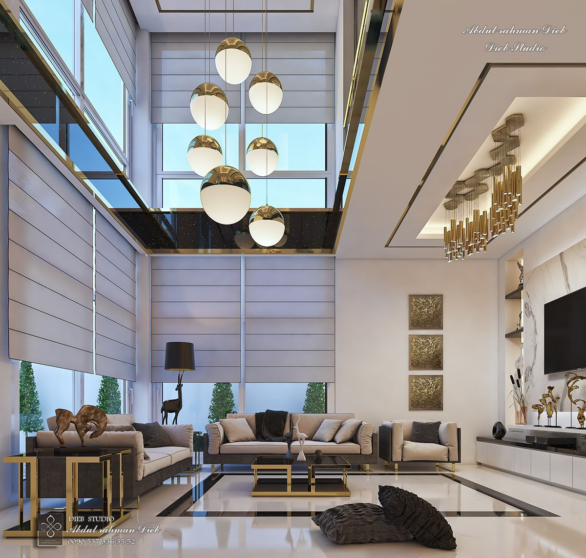 Entrance And Double Height Living Room On Behance Luxury Living Room Wall Decor Living Room Modern Living Room Design Modern