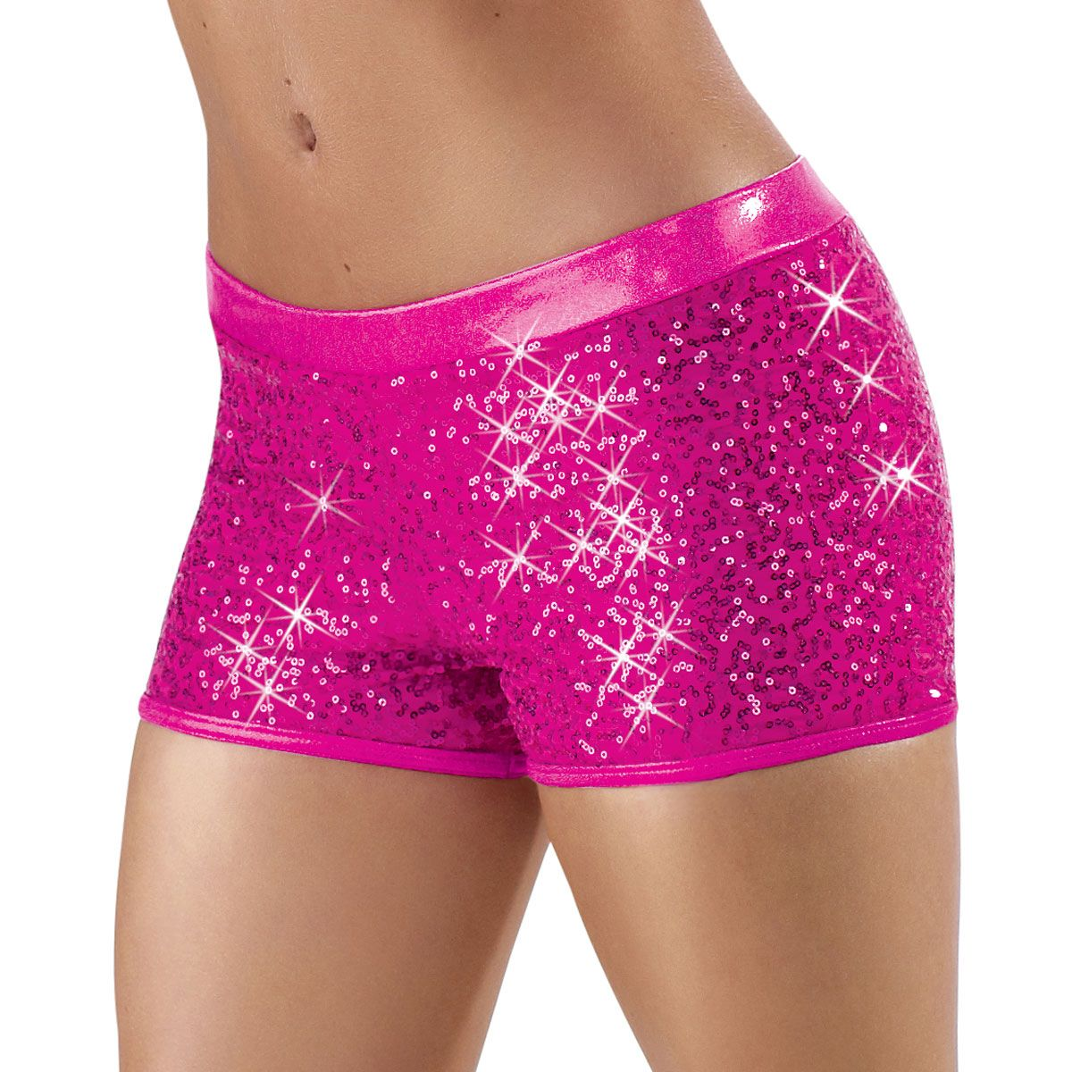 Plus Size Sexy Sequin Black Shorts - Shorts Are Cut About 3