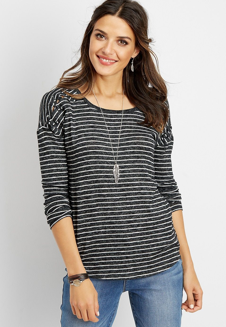 ce9cac0f217 24 7 lattice shoulder stripe tee
