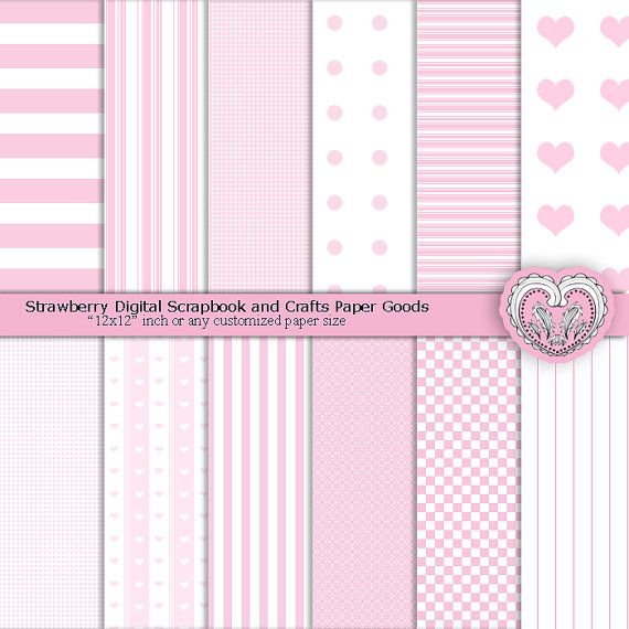 Strawberry Pink Patterned Paper Digital Paper Pack by ArtistaQ8  #babygirl #pinkpaper #paper #digital #craft #printable #digi #diy #paperpack #scrapbook #white #patterns #partysupply #supply #theme #favorbag #giftbag #stationery #background