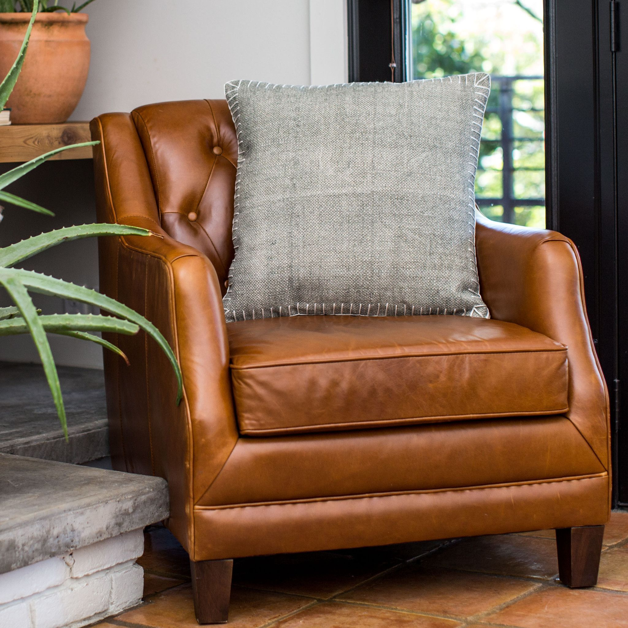 Silverado Leather Sectional in Caramel Brown