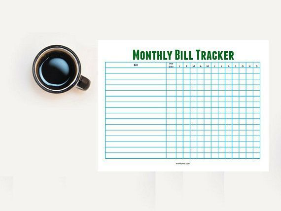 Bill Tracker Printable Monthly Horizontal Bill Tracker Spreadsheet