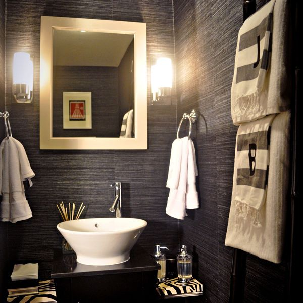 Powder Room - - Dark wallpaper