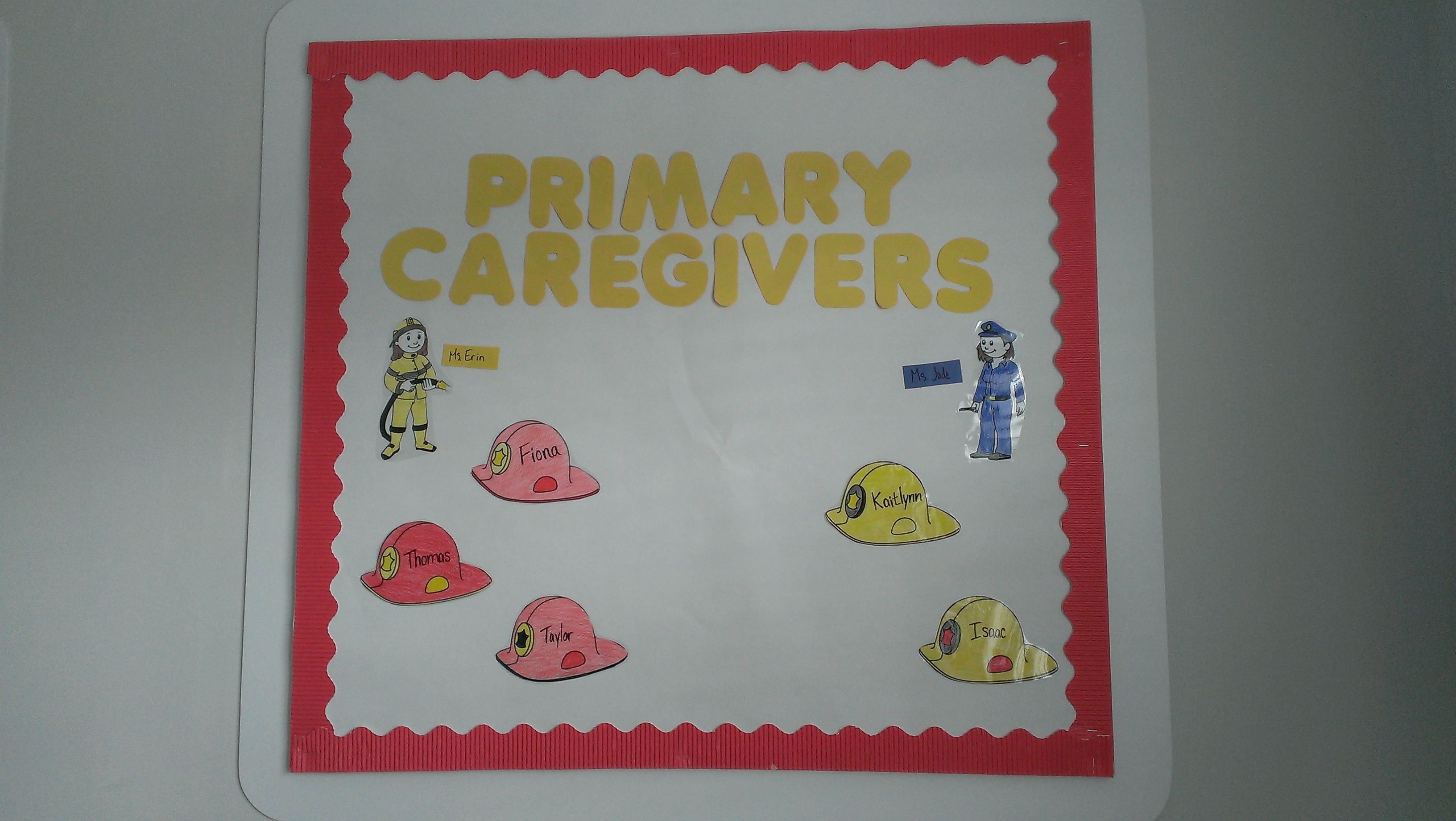 primary caregivers board community helpers theme look at what