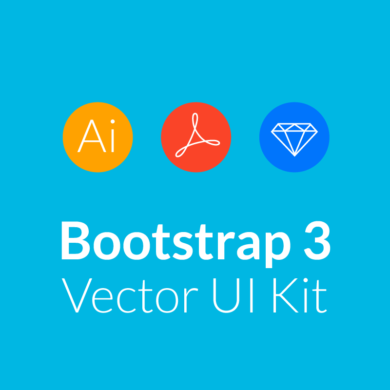 This UI Kit contains all Twitter Bootstrap 3 UI controls in vector format, Glyphicons that come with Bootstrap and lots of bonus UI elements that are perfect for mockuping control and admin panels.
