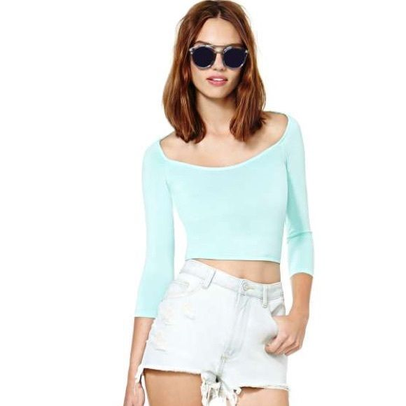 Nasty gal mint crop top! Crop top! More mint green than pictured. No trades or PayPal! :) Nasty Gal Tops Crop Tops