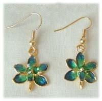Emerald Orchid Earrings with 24k Gold
