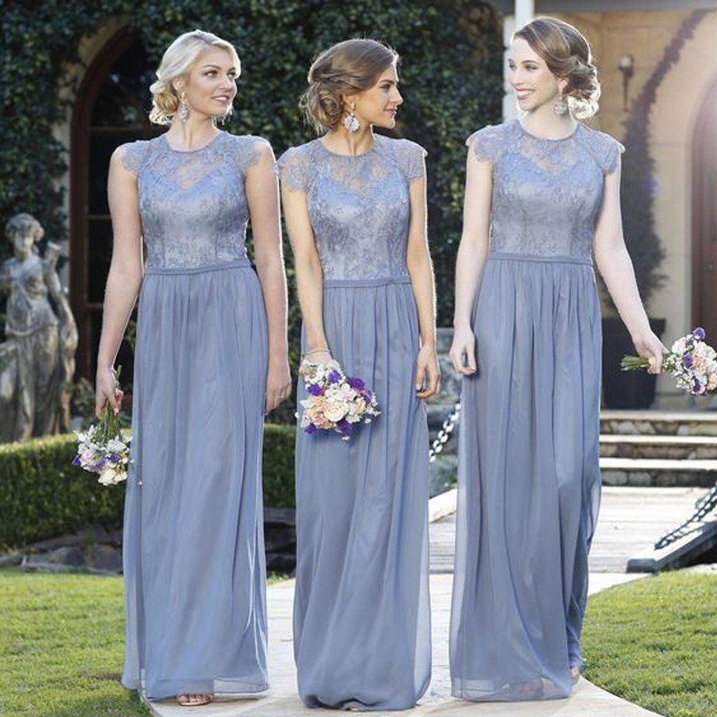 Elegant Lace Top Cap Sleeve Charming Small Round Neck Formal A Line Cheap  Bridesmaid Dresses 50f00c81ada6