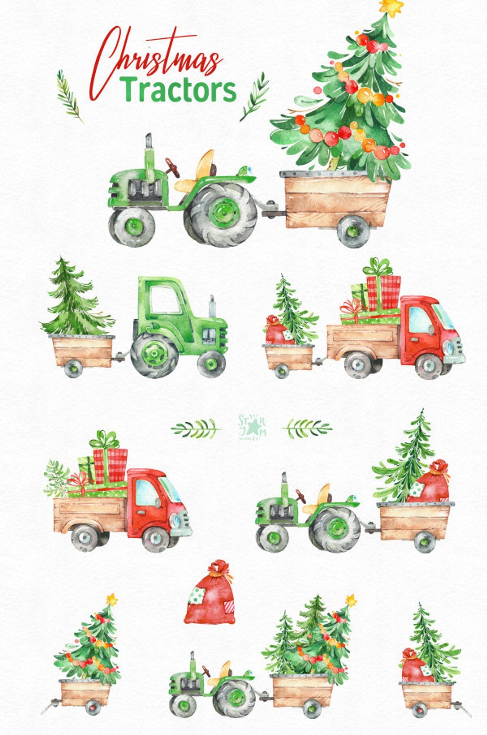 Christmas Tractors Green Watercolor Holiday Country Clipart Etsy Christmas Watercolor Christmas Illustration Christmas Art