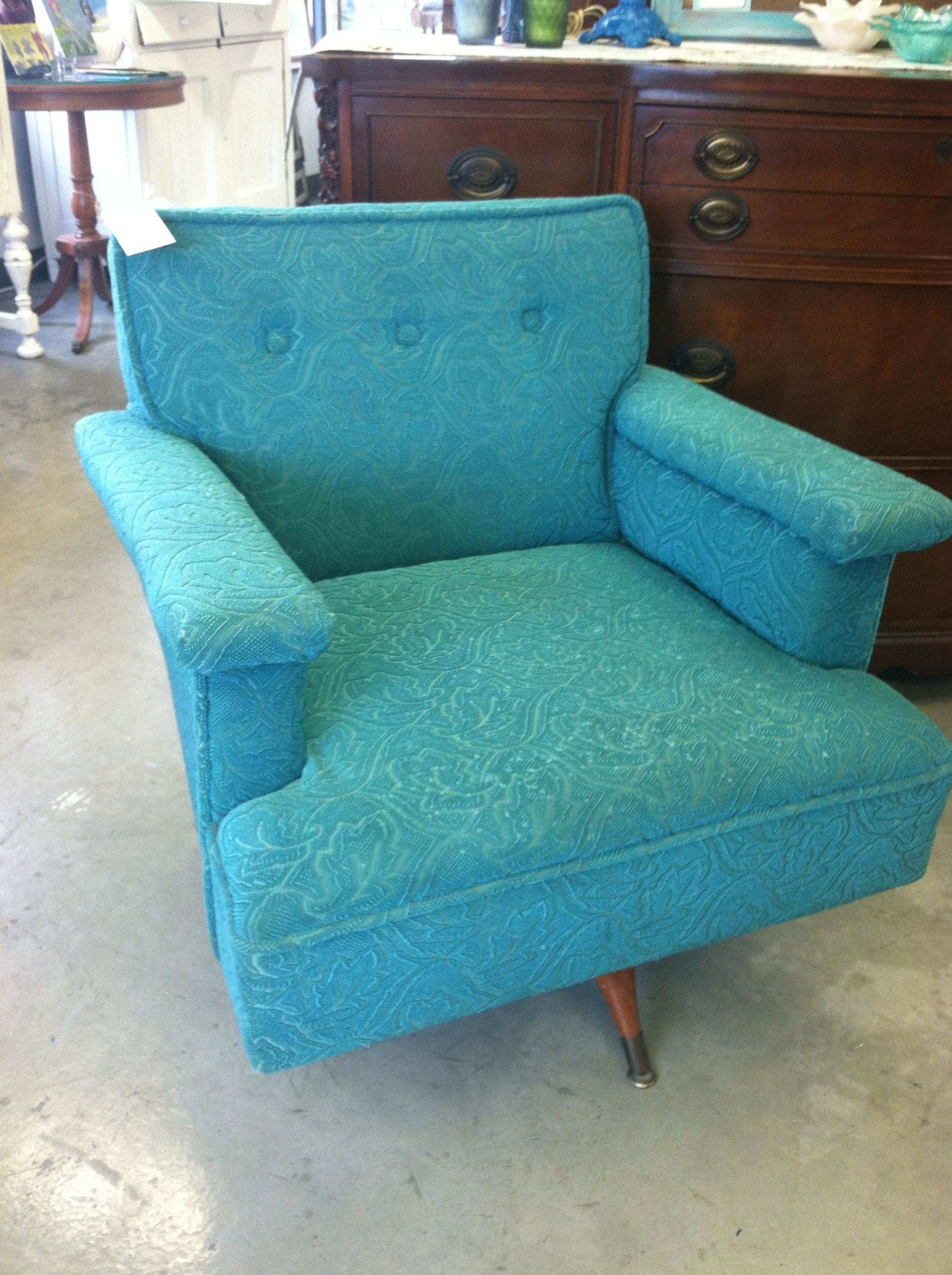 Teal Rocking Chair Mid Century Teal Swivel Rocker Sold Vintage Finds At