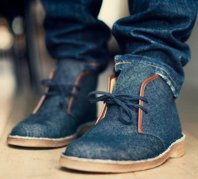 clarks originals denim desert boot accessoirement pinterest hommes mode homme et chaussure. Black Bedroom Furniture Sets. Home Design Ideas
