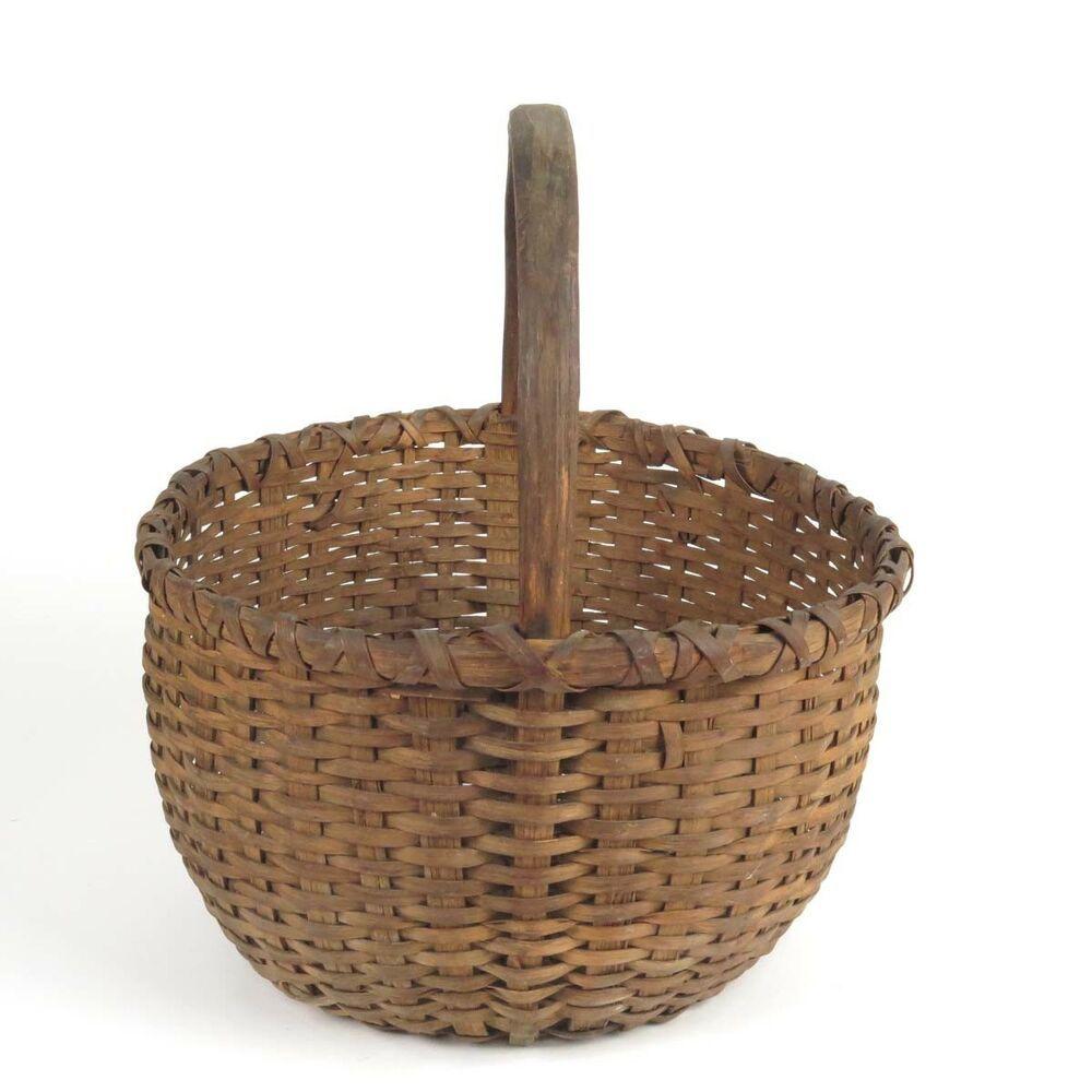 Antique woven splint basket gathering primitive country