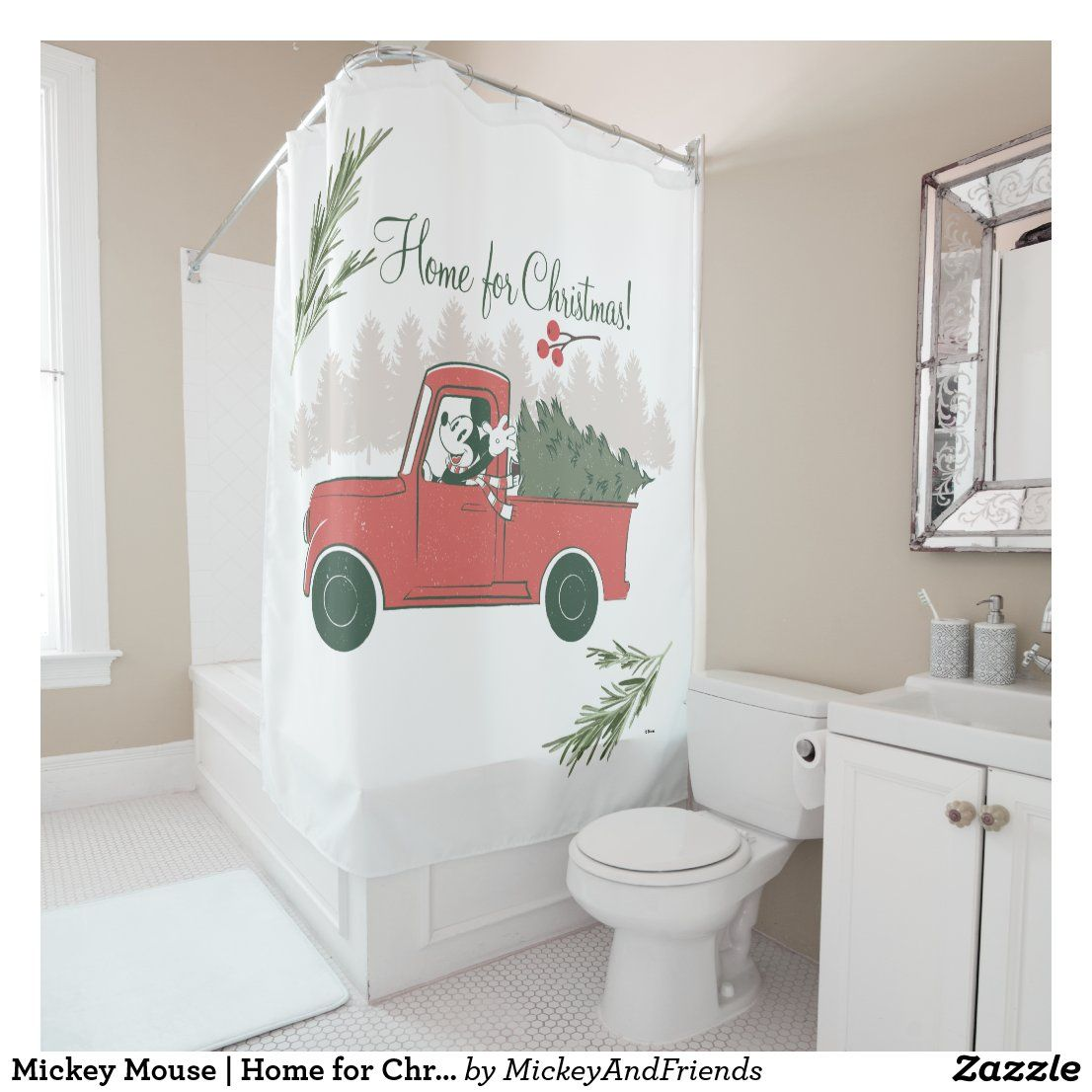 Mickey Mouse Home For Christmas Shower Curtain Zazzle Com Mickey Mouse Shower Curtain Christmas Shower Christmas Shower Curtains